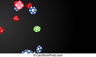 Casino Poker French Card Symbols, Poker Chips and Dice, Animation, with Alpha Channel, Loop, 4k.