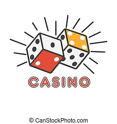 Casino poker gambling dice lucky combination vector template icon