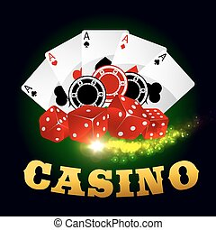 Casino poker game cards, chips, playing dices