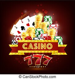 Casino poker game cards, dice, chips and coins