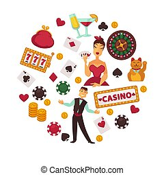 Casino poker game or gambling bets poster of roulette...