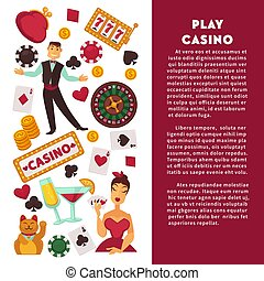 Casino poker game vector poster