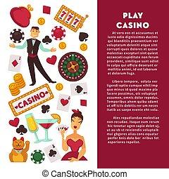 Casino poker game vector poster