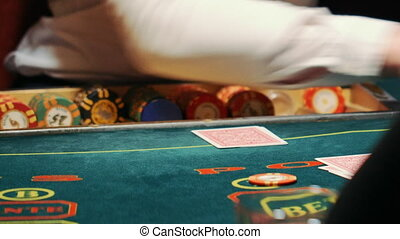 casino, poker, girl, the dealer deals cards