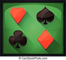 Casino Poker Icons On Green Carpet