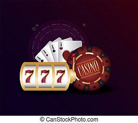 casino poker jackpot machine game chip and cards