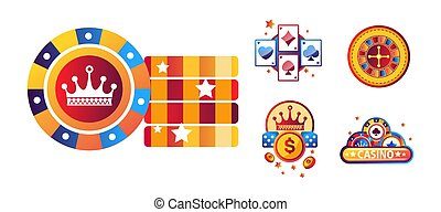 Casino poker logo templates of playing cards, gambling dice or chips and jackpot roulette