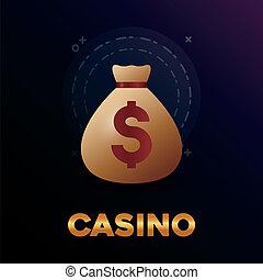 casino poker money bag dollar