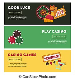 Casino poker online game vector web banners