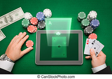 casino poker player with cards, tablet and chips - casino, ...