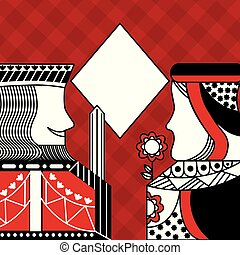 casino poker queen and king diamond card game red checkered background