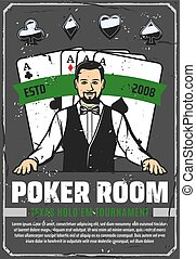 Casino poker room, ace cards and croupier - Poker room,...