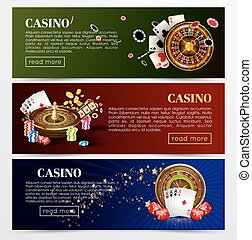 Casino poker roulette cards, dice vector web banners...