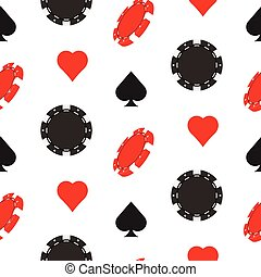 Casino poker seamless pattern with card suits