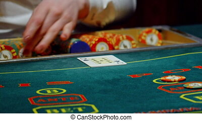 casino, poker, the dealer deals the cards