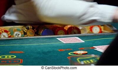 casino, poker, the dealer deals the cards