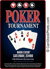 Casino Poker Tournament background blue template design