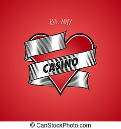 Casino, poker vector logo. Illustration with cards suit heart