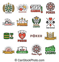 Casino poker vector templates of chips and gamble cards