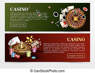 Casino poker web banners templates. Design of gambling dice,...