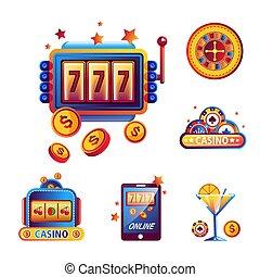 casino, pook, geluksspelletjes, spel, vector, iconen