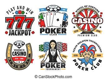 casino, pook, spel, jackpot, geluksspelletjes, vector, iconen