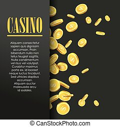 Casino Poster Background or Flyer with Golden Money Coins. -...