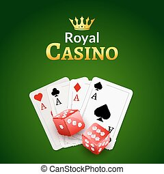 Casino poster design template. Dice and poker cards background. Gambling illustration