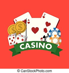 casino poster money chips cards dice game banner