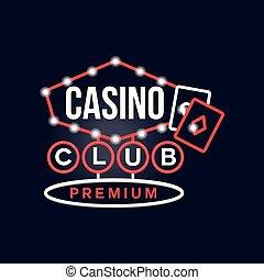 Casino premium club retro neon sign, vintage bright glowing signboard, light banner vector Illustration