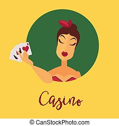 Casino promotional poster with female client who holds play cards