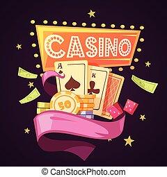 Casino Retro Cartoon Illustration