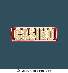 Casino retro street signboard, vintage banner with lights vector Illustration
