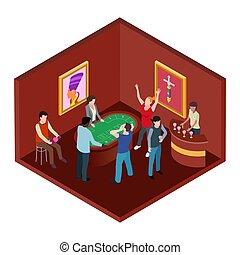 Casino room, 3d isometric gambling vector concept