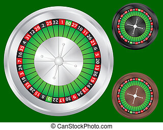 casino roulette - Casino roulette wheel set on a green...
