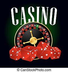 casino, roulette, en, rood, dobbelstenen