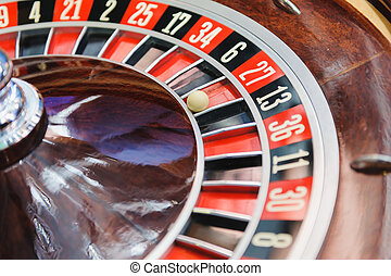 Roulette wheel in casino