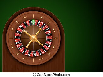 Casino roulette on green cloth