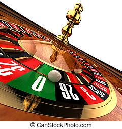 casino, roulette, op wit