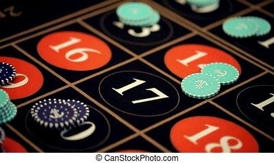 casino: roulette players bet, close-up. slow motion