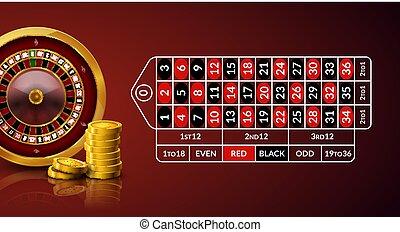 Casino roulette table illustration. Green gambling roulette table with numbers play cards coins and chips