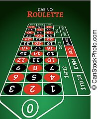 Casino roulette table perspective illustration. Green gambling roulette table with numbers