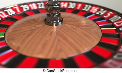 Casino roulette wheel ball hits 0 zero. 3D animation - ...