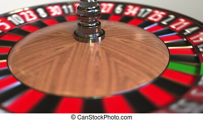 Casino roulette wheel ball hits 1 one red. 3D animation -...