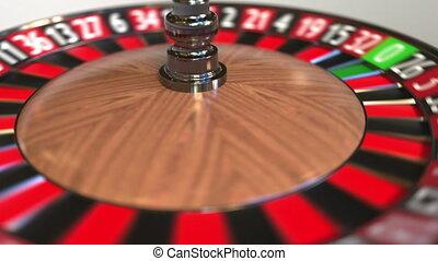 Casino roulette wheel ball hits 10 ten black. 3D animation -...