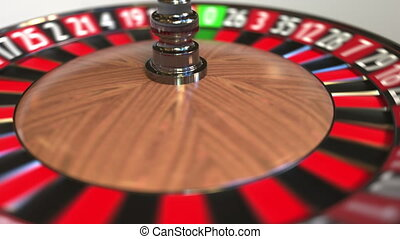 Casino roulette wheel ball hits 13 thirteen black. 3D...