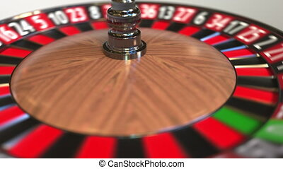 Casino roulette wheel ball hits 14 fourteen red. 3D ...