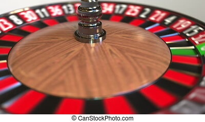 Casino roulette wheel ball hits 16 sixteen red. 3D animation...