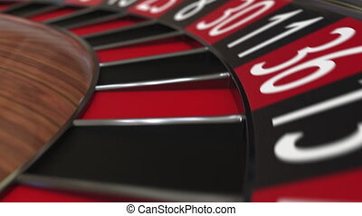 Casino roulette wheel ball hits 16 sixteen red