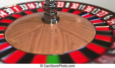 Casino roulette wheel ball hits 18 eighteen red. 3D...